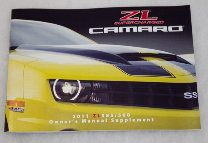 1 Slp 2011 Camaro Zl585 Zl560 Owners Manual Supplement