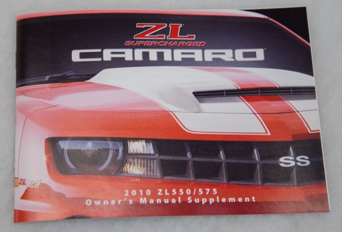 1 Slp 2010 Camaro Zl575 Zl570 Owners Manual Supplement